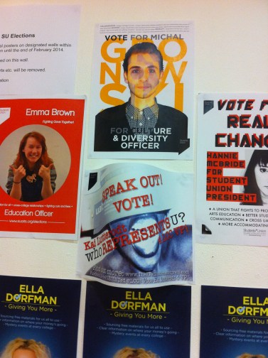 My poster bends out- speak out and vote! www.suarts.org/vote #Kai4VP
