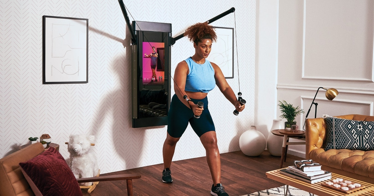 A woman set up her home gym to help her with exercising. Photo: WIRED.