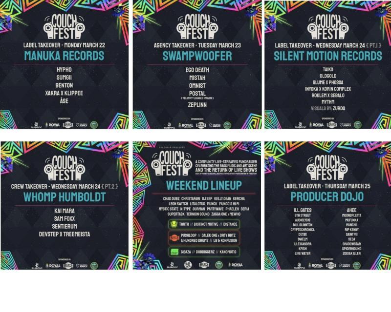 week long CouchFest online festival lineup