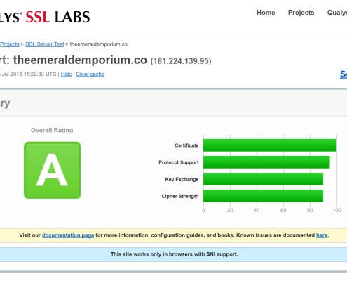 The Emerald Emporium SSL Test Results