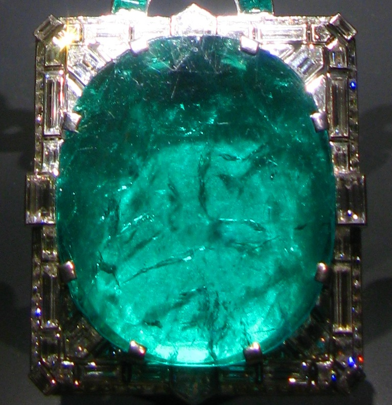Mackay emerald closeup showing heavy inclusions