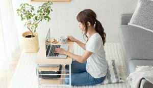 woman working in living room