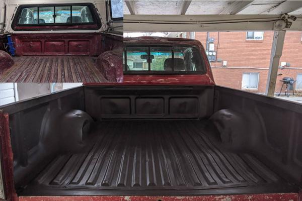 before and after fix rust holes in a truck bed