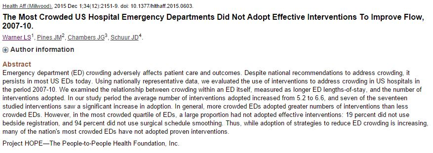 Congrats to Dr. Leah Warner on her recent publication on ED Crowding!