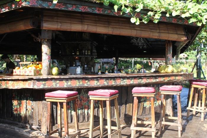 Outdoor bar at La Laguna Restaurant in Bali, Indonesia
