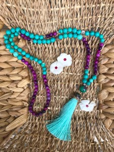 Turquoise and purple mala beads