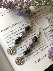 pentacle amethyst agate earrings