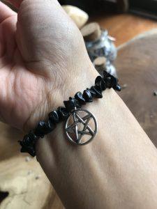 Black agate pentacle bracelet