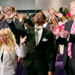 Donald Trump, the Republican presidential nominee, right, during his visit to the Great Faith Ministries International in Detroit.