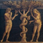 Adam and Eve committing original sin, detail from Virgin of Victory, 1496, by Andrea Mantegna (1431-1506), tempera on canvas, 280×166 cm