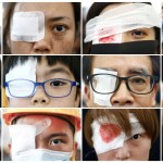A combination picture shows anti-extradition bill protesters wearing an eyepatch, in reference to a demonstrator that was injured at previous day's clashes with police during a protest inside the airport terminal in Hong Kong