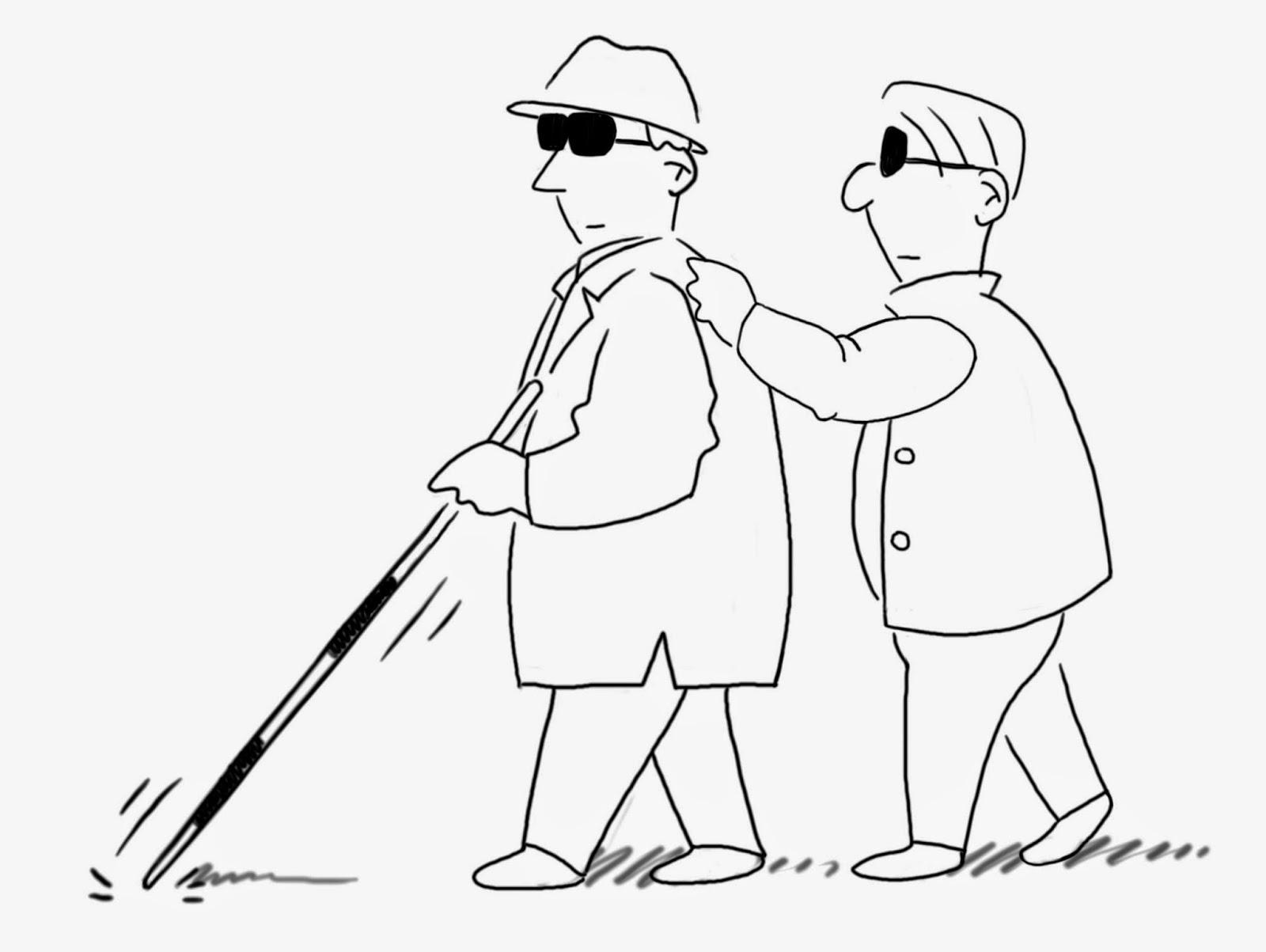 Blind Leading The Blind Having Eyesight Problems And