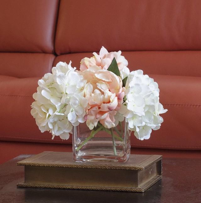 Flower Arrangements In Square Glass Vases
