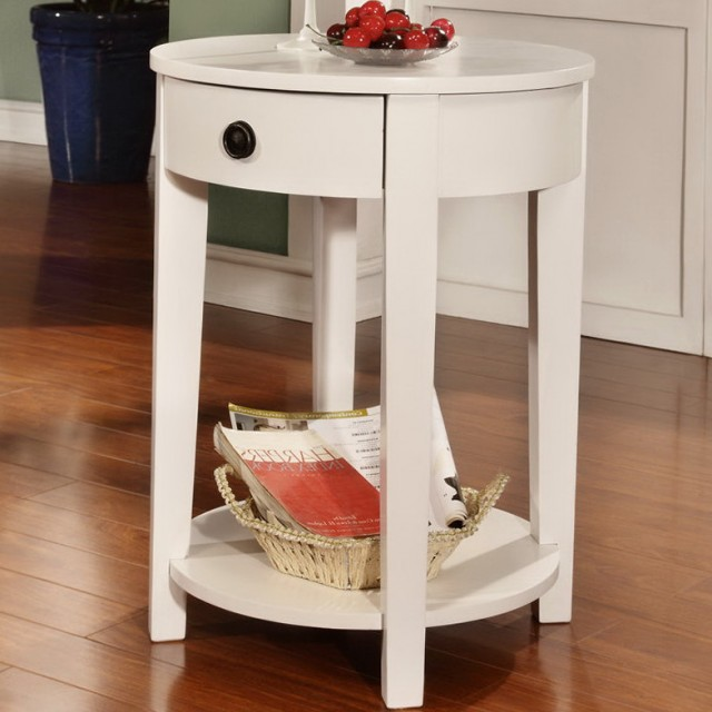 Round Accent Table With Drawer