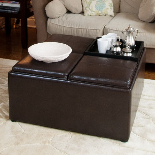 Inexpensive Brown Leather Ottoman Coffee Table 800x800