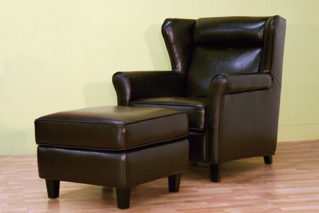 Brown Leather Chair And Ottoman Set