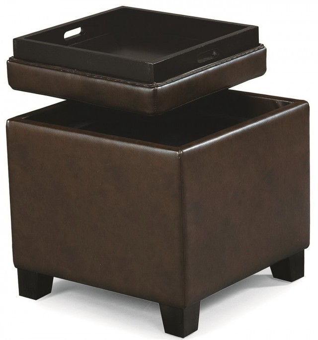Brown Leather Storage Ottoman Tray