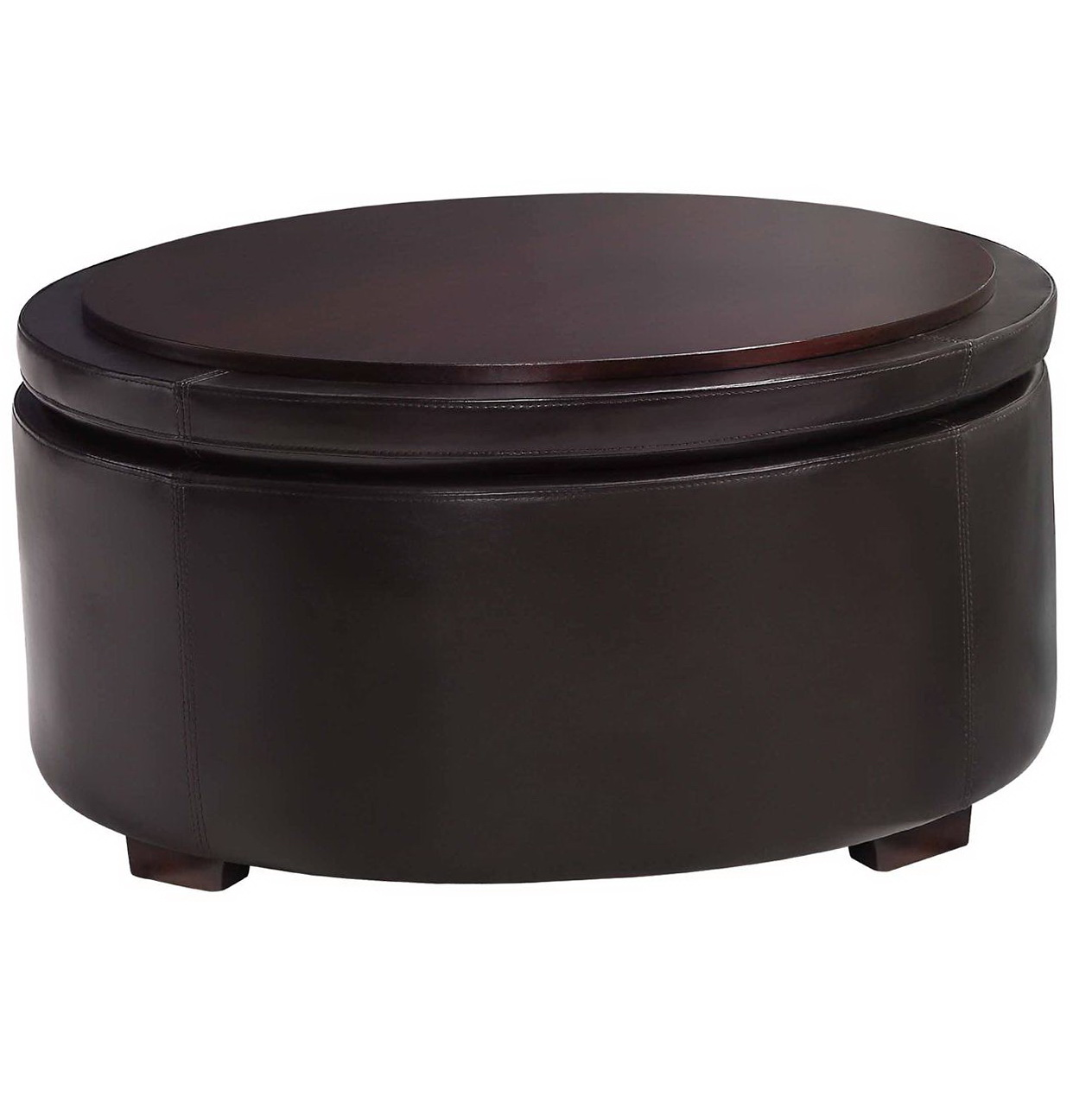 Large Round Storage Ottoman Coffee Table