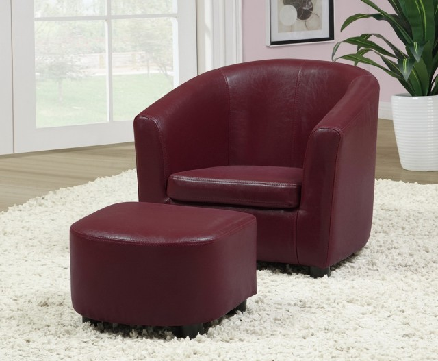 Red Accent Chair With Ottoman