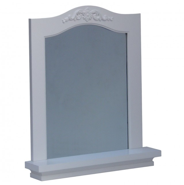 White Framed Mirror With Shelf