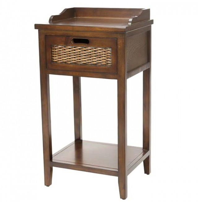 Wicker Side Table With Drawer
