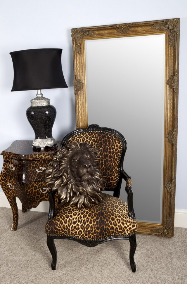 Carved Floor Standing Mirror