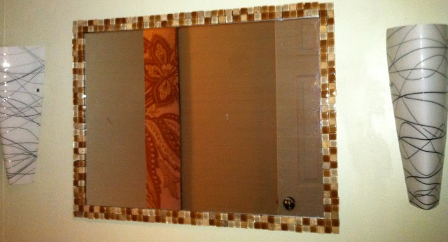 How To Frame A Bathroom Mirror With Mosaic Tiles