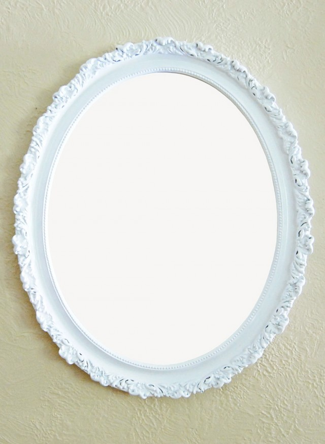 Oval Mirror White Frame