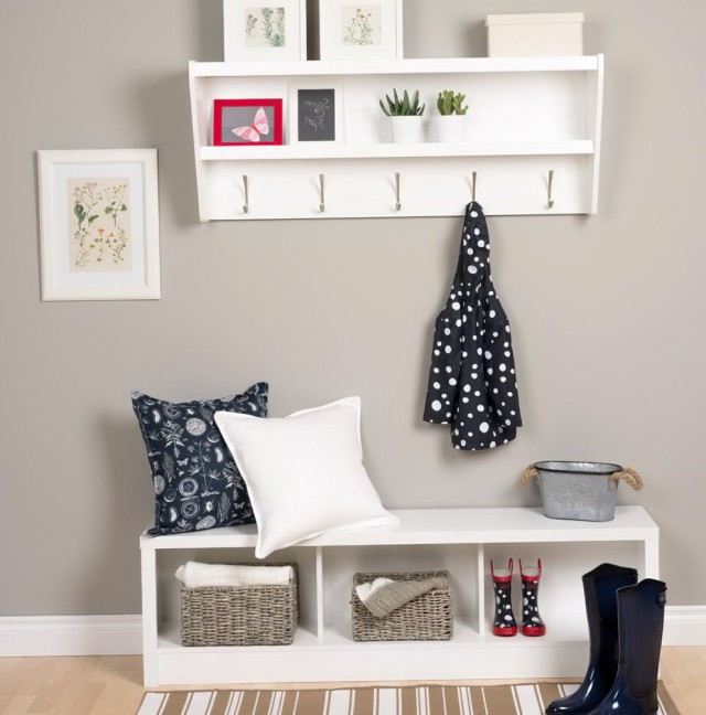 White Entryway Bench And Shelf