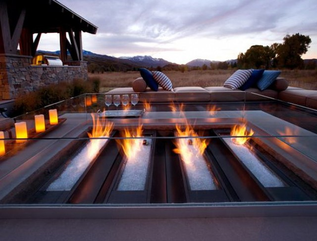 Gas Fire Pit On Wood Deck
