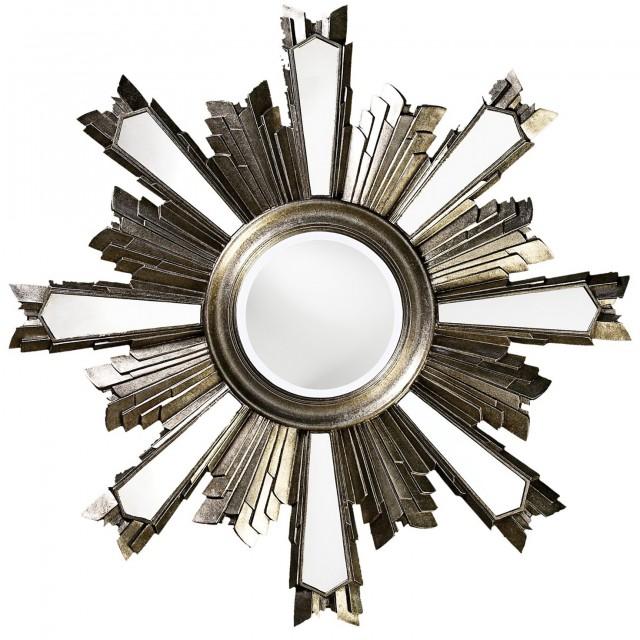 Large Round Silver Leaf Mirror