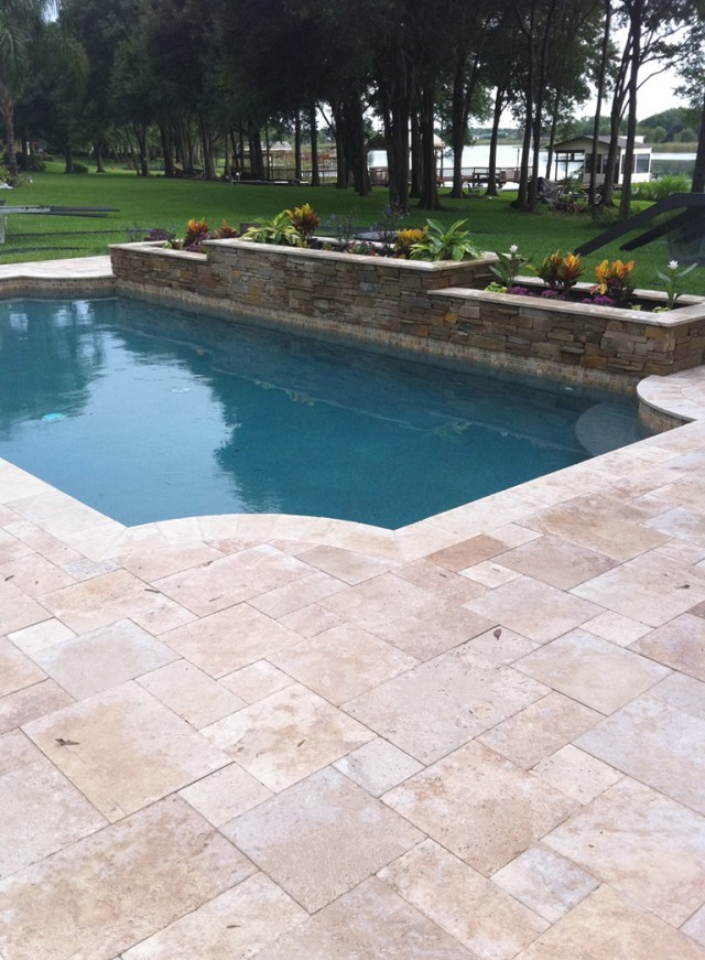 Spray Deck Or Travertine Pavers Pool