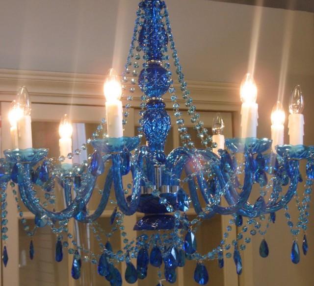 Blue Crystal Chandelier Light
