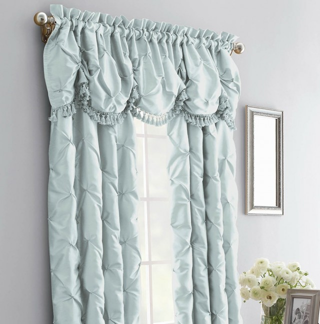 Blue Faux Silk Curtains