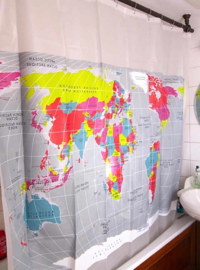 Fabric Shower Curtain World Map