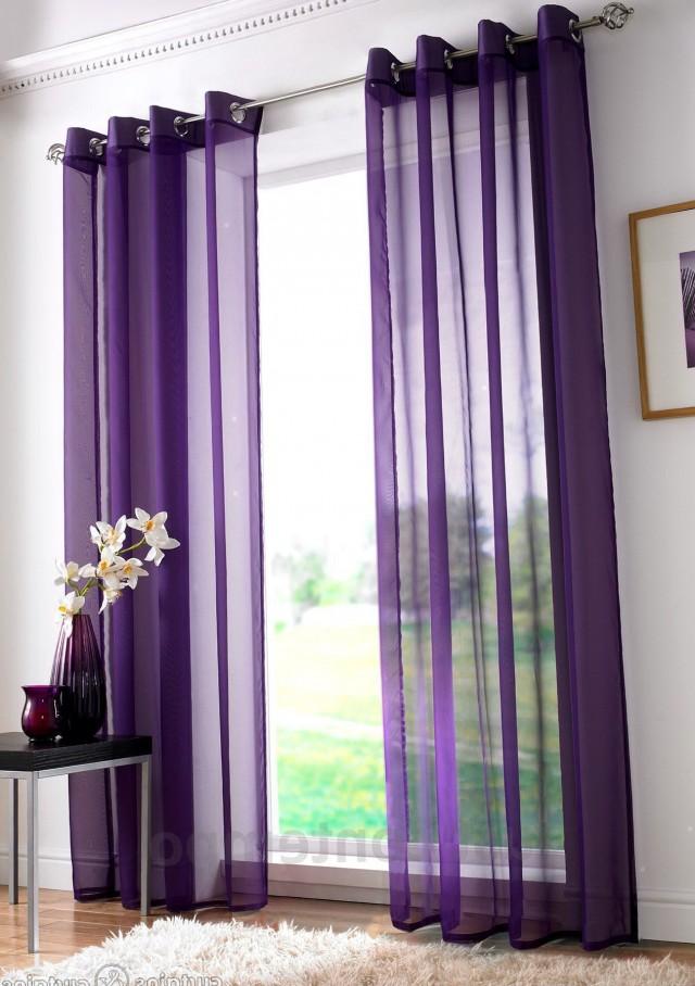 Purple Sheer Curtain Panels