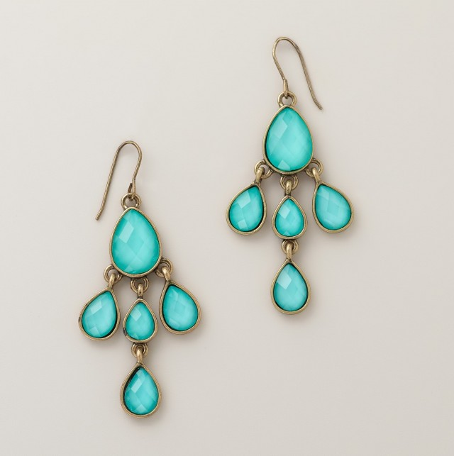 Turquoise And Gold Chandelier Earrings