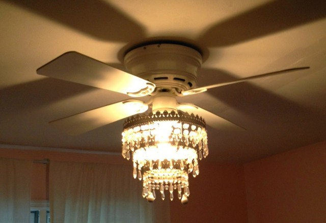 White Ceiling Fan With Chandelier