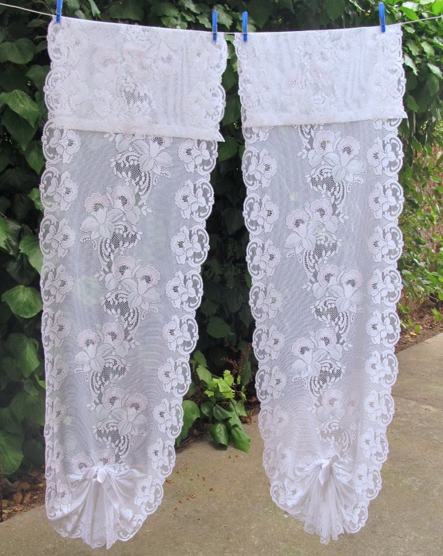 White Lace Curtains With Valance