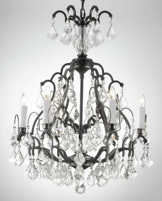 Wrought Iron Chandeliers With Crystals