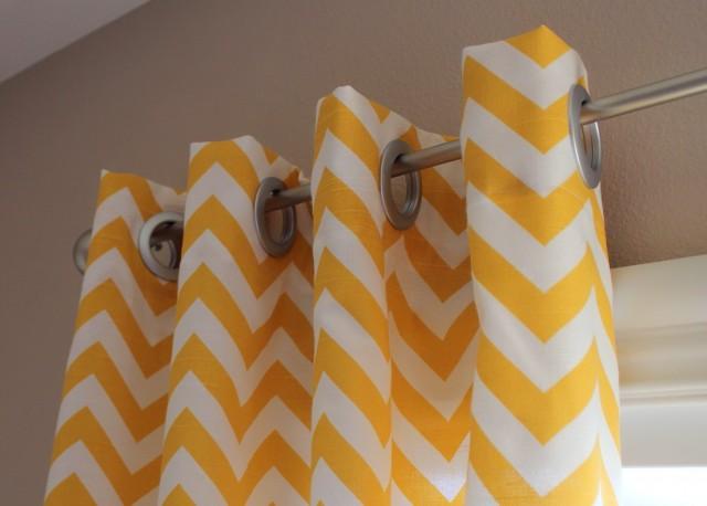 Yellow And White Chevron Curtains