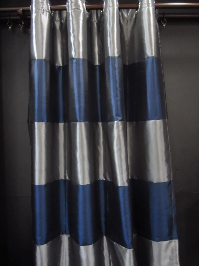 Blue And Gray Striped Curtains