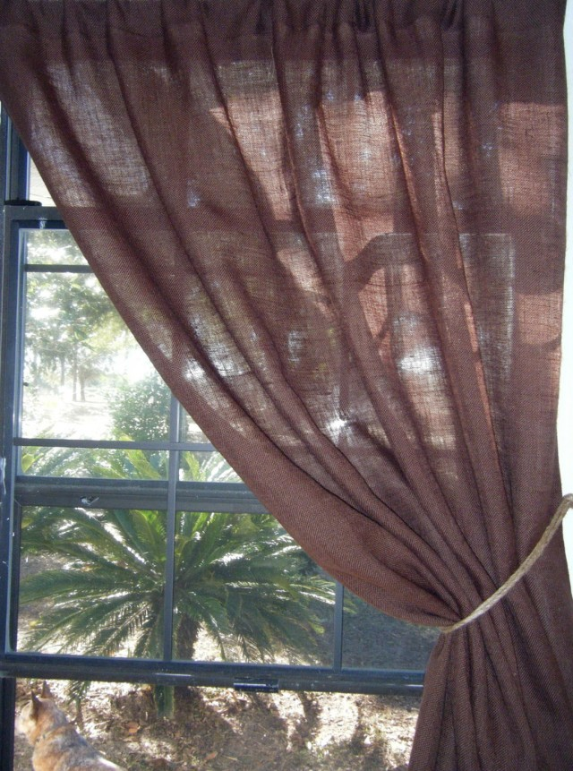 Chocolate Brown Burlap Curtains