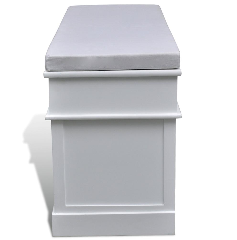 White Cushioned Storage Bench
