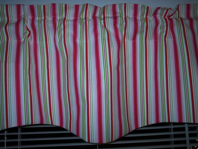 Green And Pink Striped Curtains
