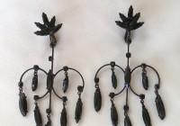Black Rhinestone Chandelier Earrings