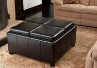 Black Storage Ottoman Coffee Table With Trays