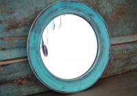Distressed Wood Mirror Blue