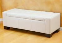 White Leather Storage Bench