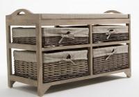 Wicker Storage Bench With Baskets